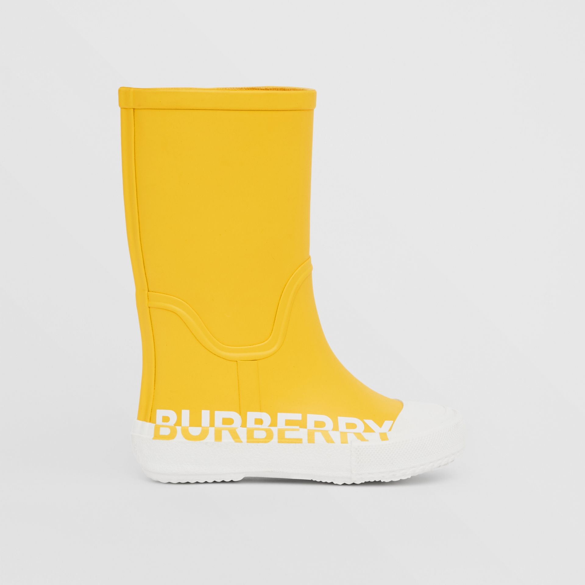 Logo Print Two-tone Rubber Rain Boots in Canary Yellow - Children | Burberry - gallery image 3