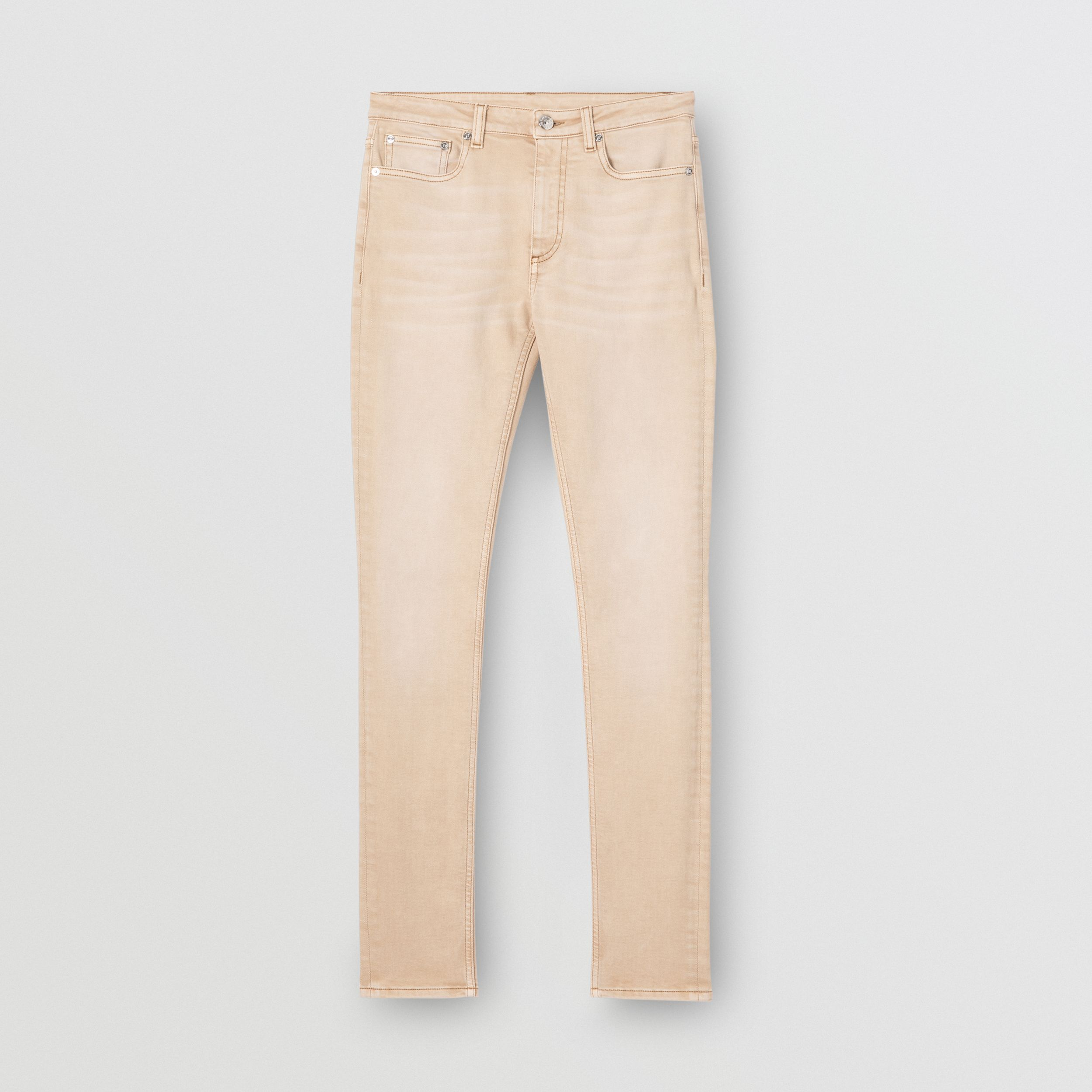 Skinny Fit Washed Japanese Denim Jeans in Honey - Women | Burberry - 4