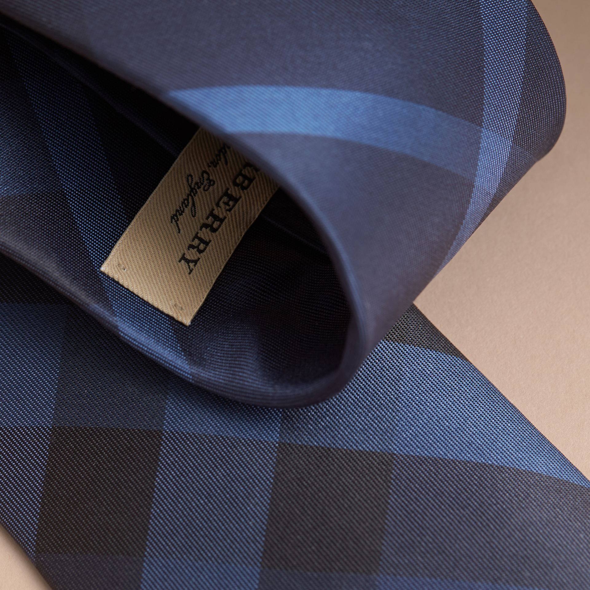 Navy Modern Cut Check Silk Tie Navy - gallery image 2