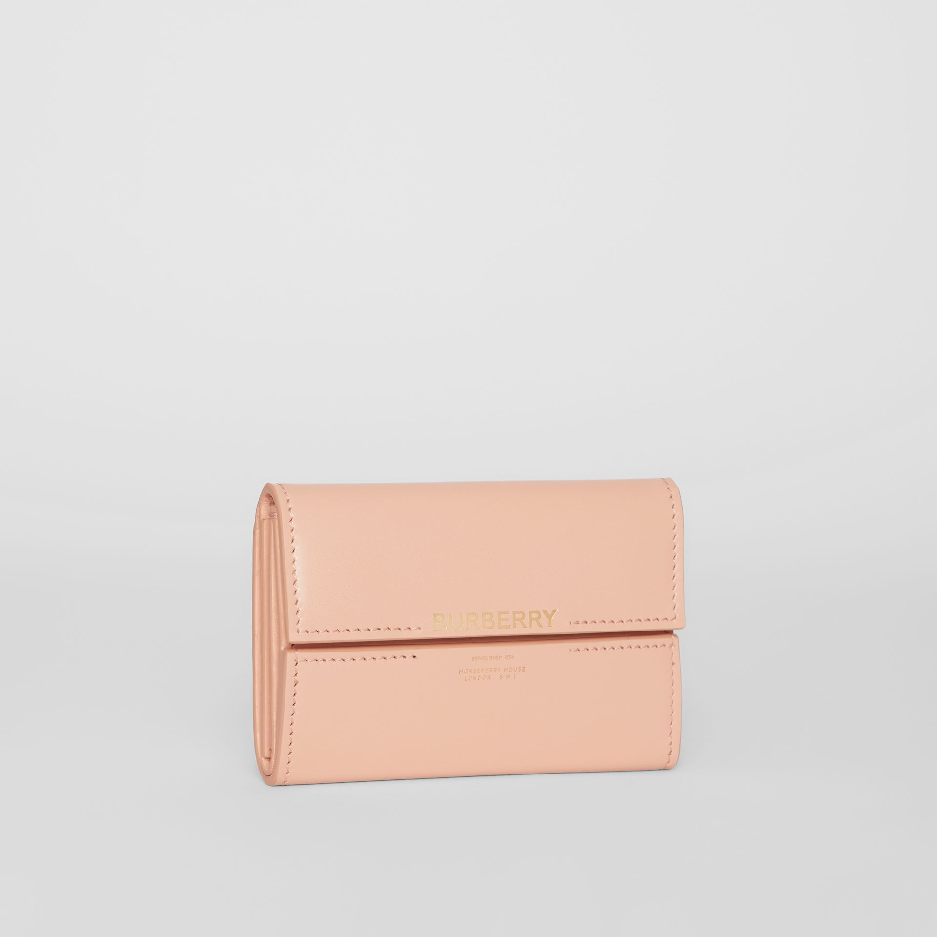 Horseferry Print Leather Folding Wallet in Blush Pink | Burberry Australia - gallery image 4