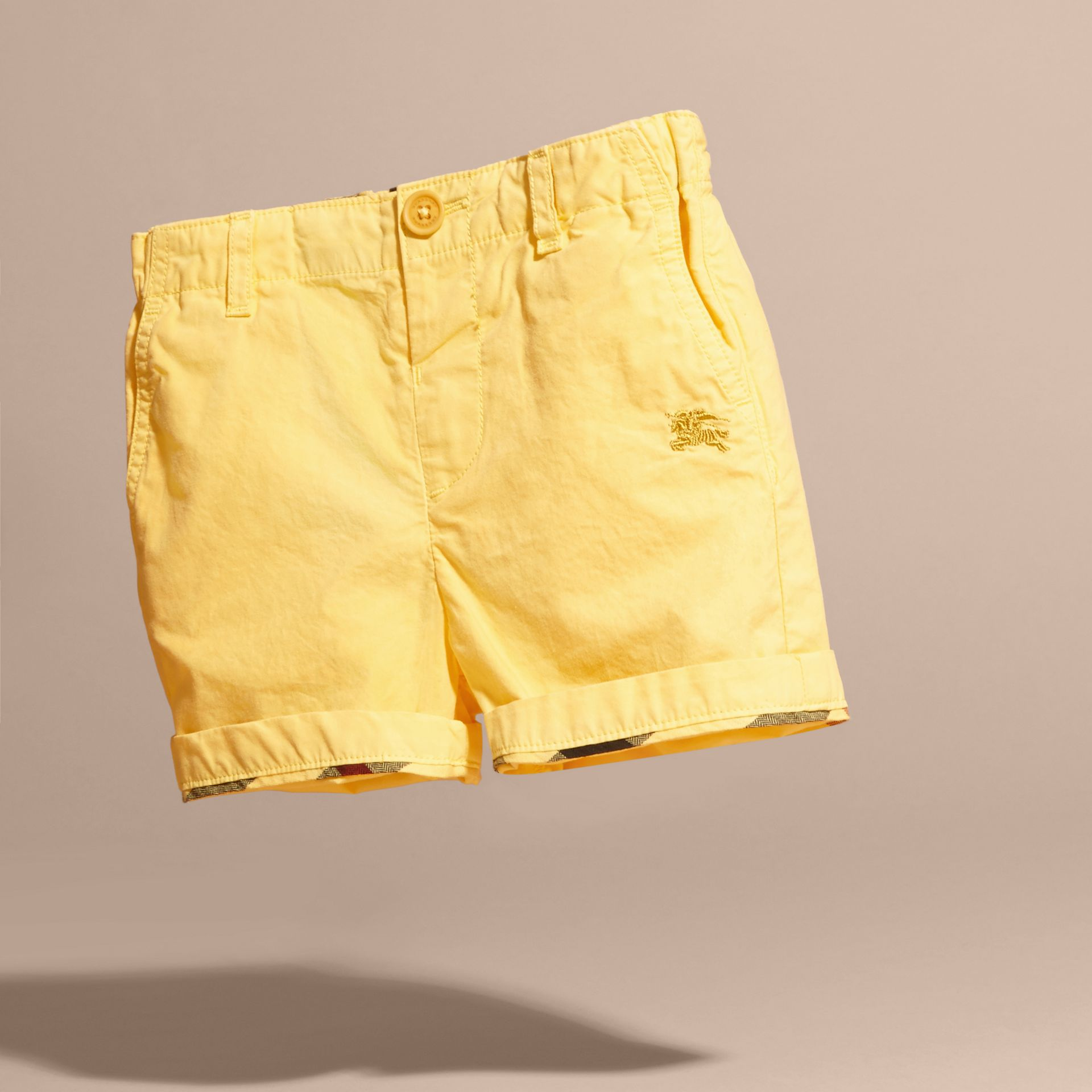 Cotton Military Chino Shorts in Bright Yellow | Burberry - gallery image 3