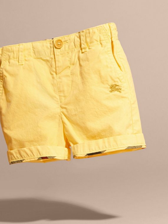 Cotton Military Chino Shorts in Bright Yellow | Burberry - cell image 2