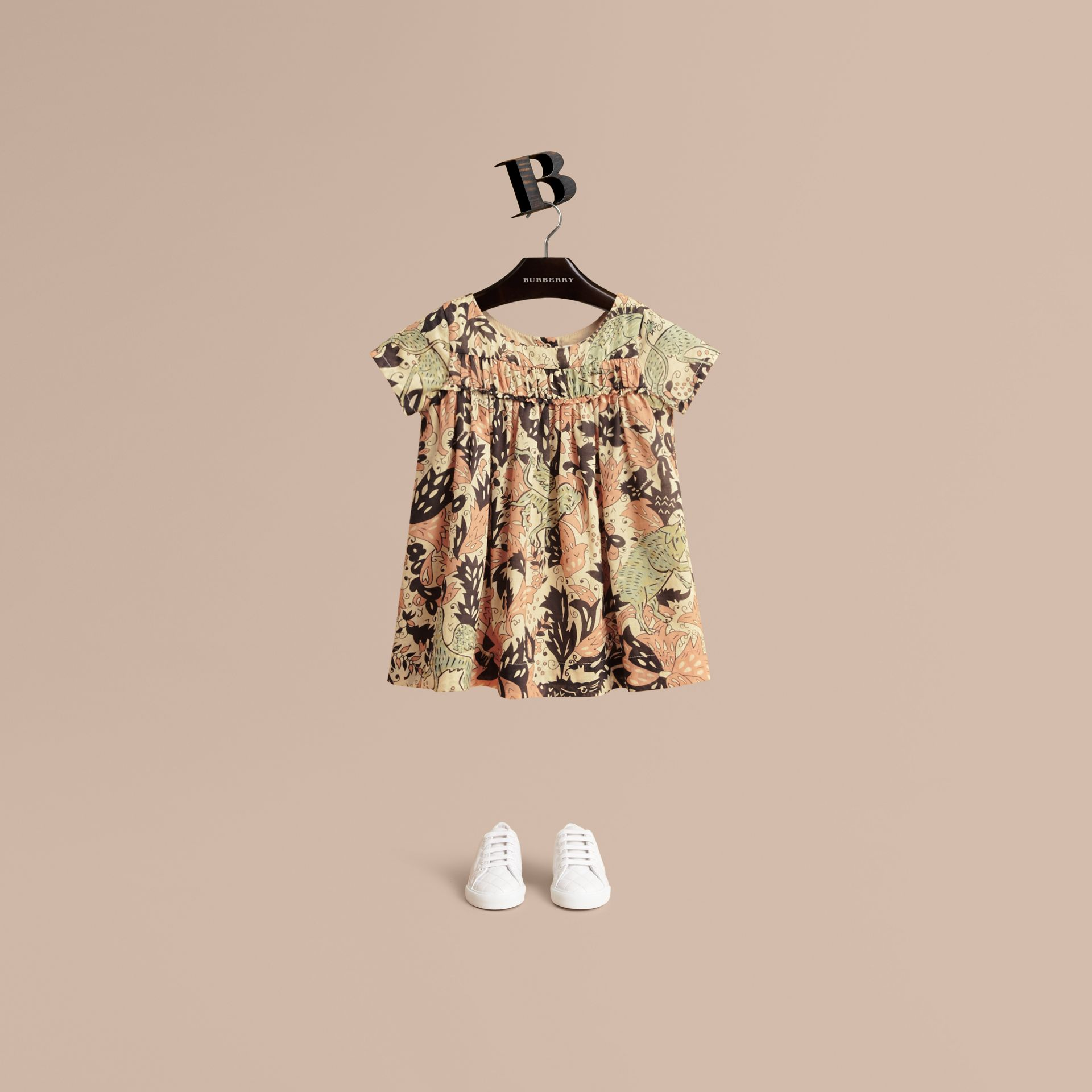 Beasts Print Cotton Smock Dress in Antique Taupe Pink | Burberry - gallery image 1