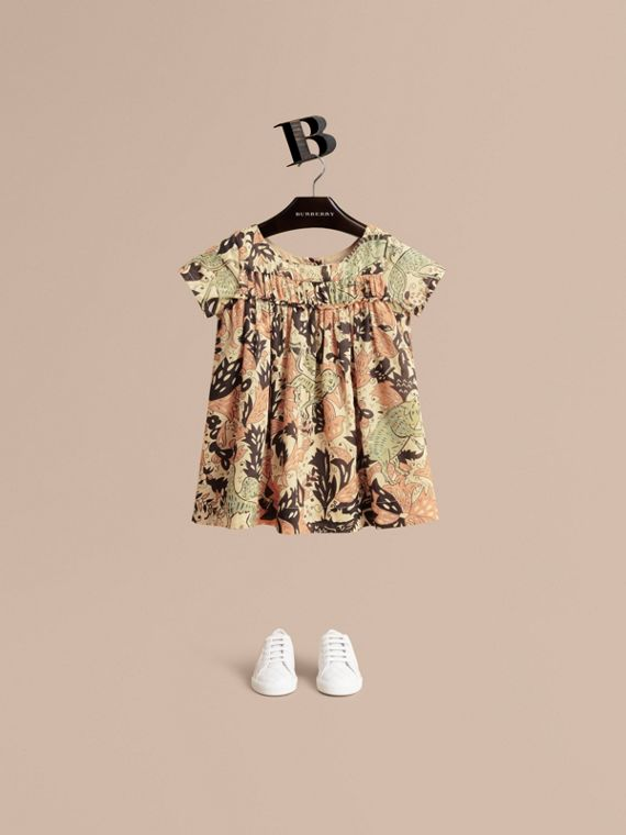 Beasts Print Cotton Smock Dress in Antique Taupe Pink