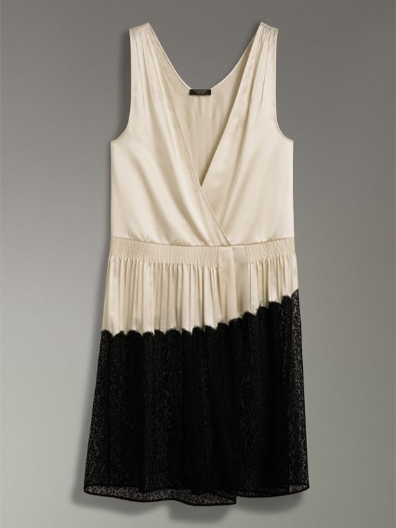 Silk Satin and Lace Sleeveless Dress in Cream - Women | Burberry - cell image 3