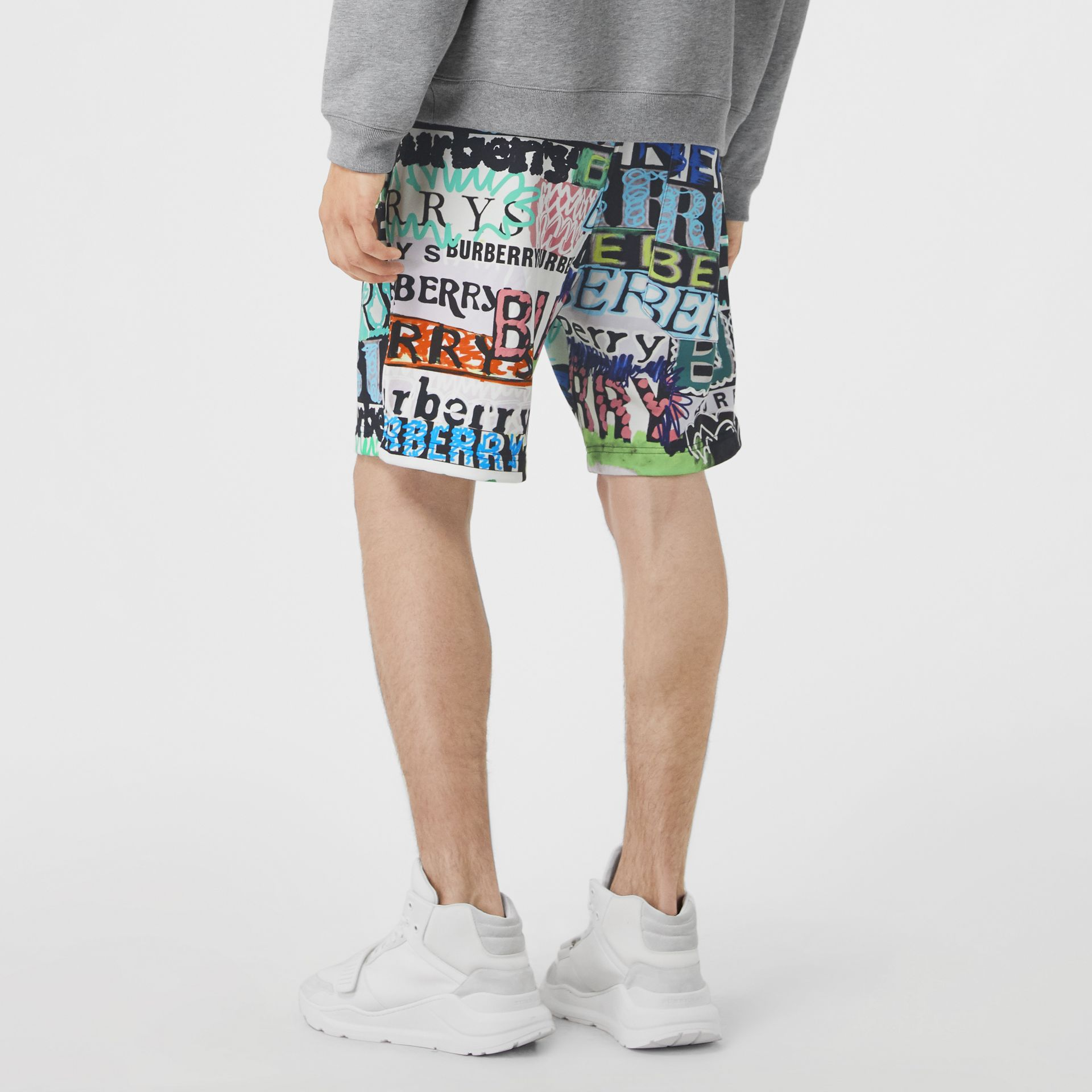 Tag Print Cotton Shorts in Bright Green - Men | Burberry United States - gallery image 2