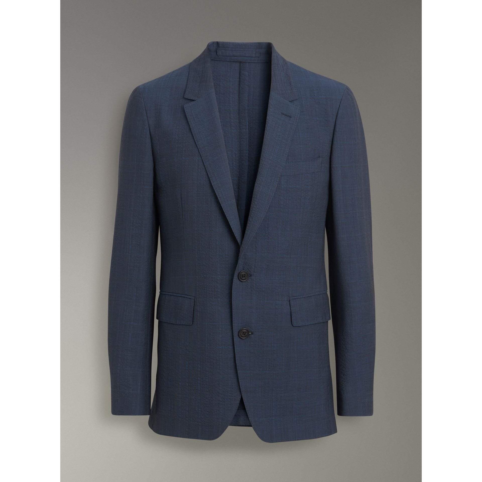 Windowpane Stretch Wool Tailored Jacket in Bright Navy - Men | Burberry United States - gallery image 3