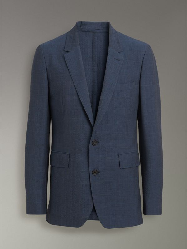 Windowpane Stretch Wool Tailored Jacket in Bright Navy - Men | Burberry - cell image 3