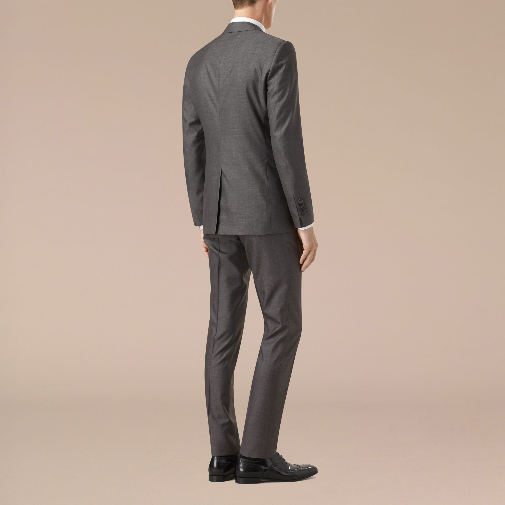 Темно-серый меланж Узкий костюм из шерсти и шелка - изображение 3