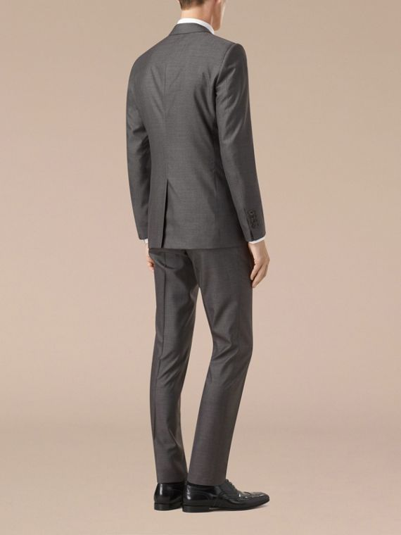 Dark grey melange Slim Fit Wool Silk Half-canvas Suit - cell image 2