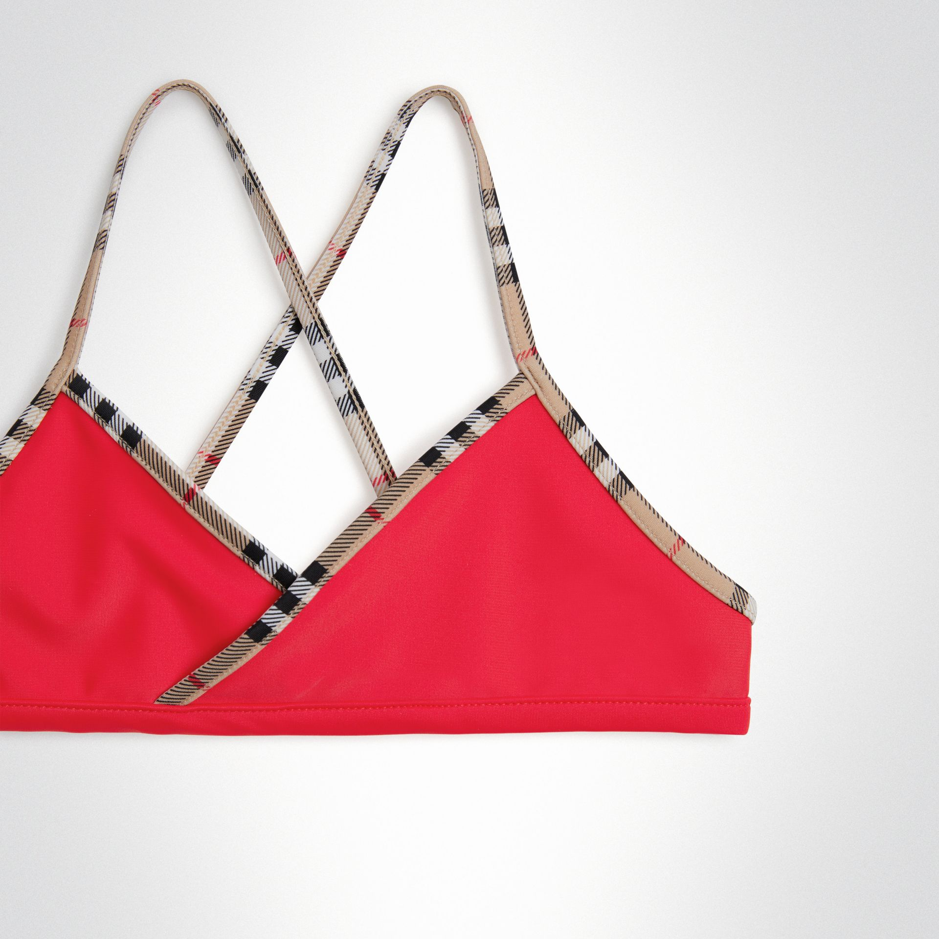 Check Trim Bikini in Poppy Red - Girl | Burberry United States - gallery image 3