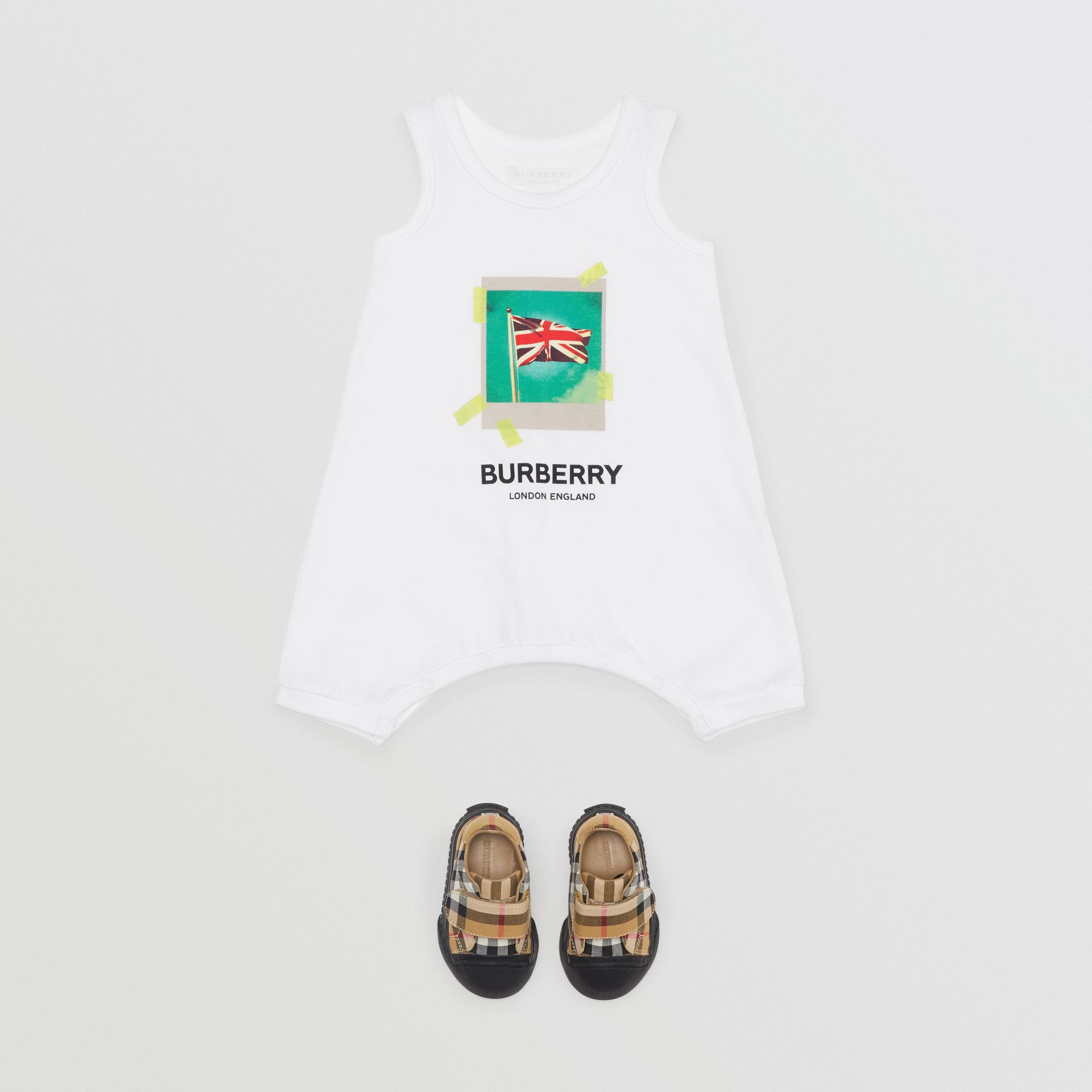 Polaroid Print Cotton Bodysuit in White - Children | Burberry Canada - gallery image 2