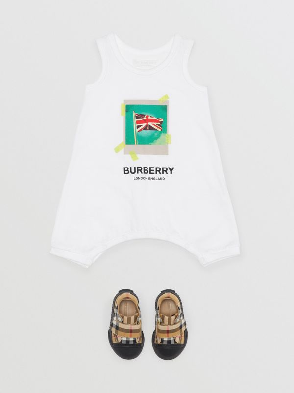 Polaroid Print Cotton Bodysuit in White - Children | Burberry - cell image 2