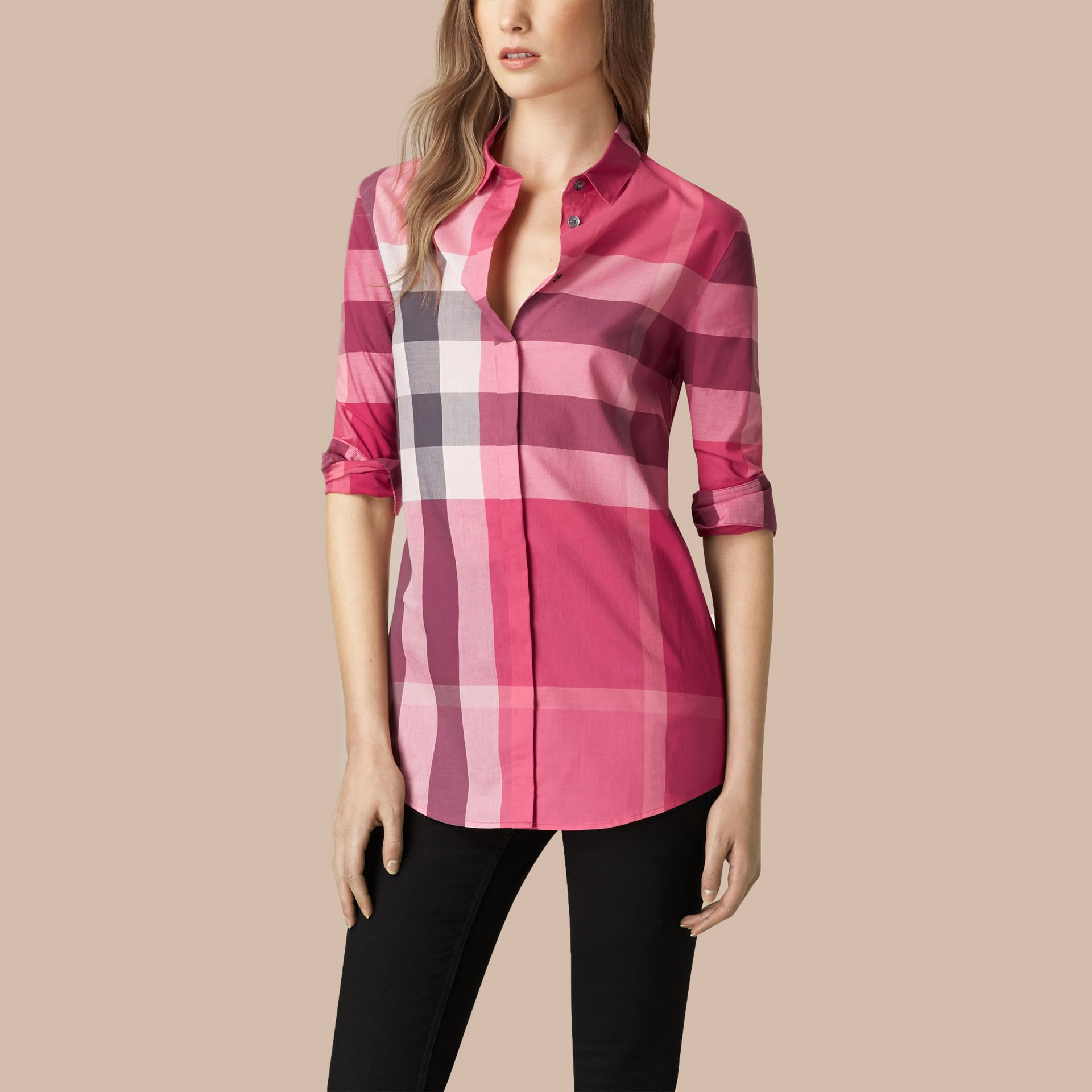 Check Cotton Shirt in Crimson Pink - gallery image 1