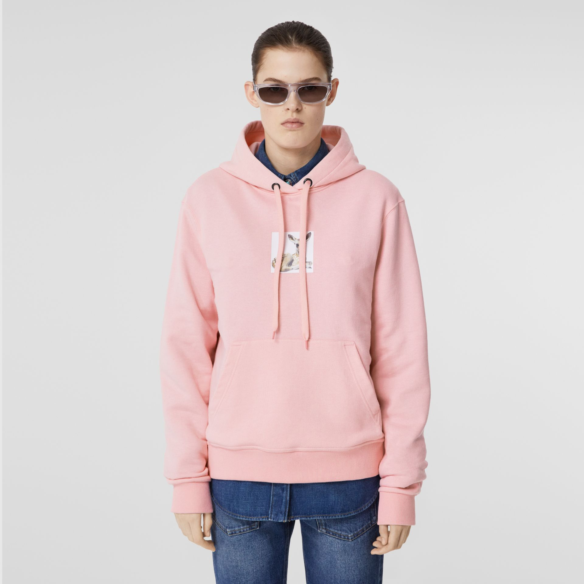 Deer Print Cotton Hoodie in Candy Pink - Women | Burberry Hong Kong S.A.R - gallery image 4