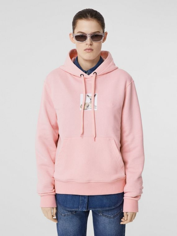 Deer Print Cotton Hoodie in Candy Pink