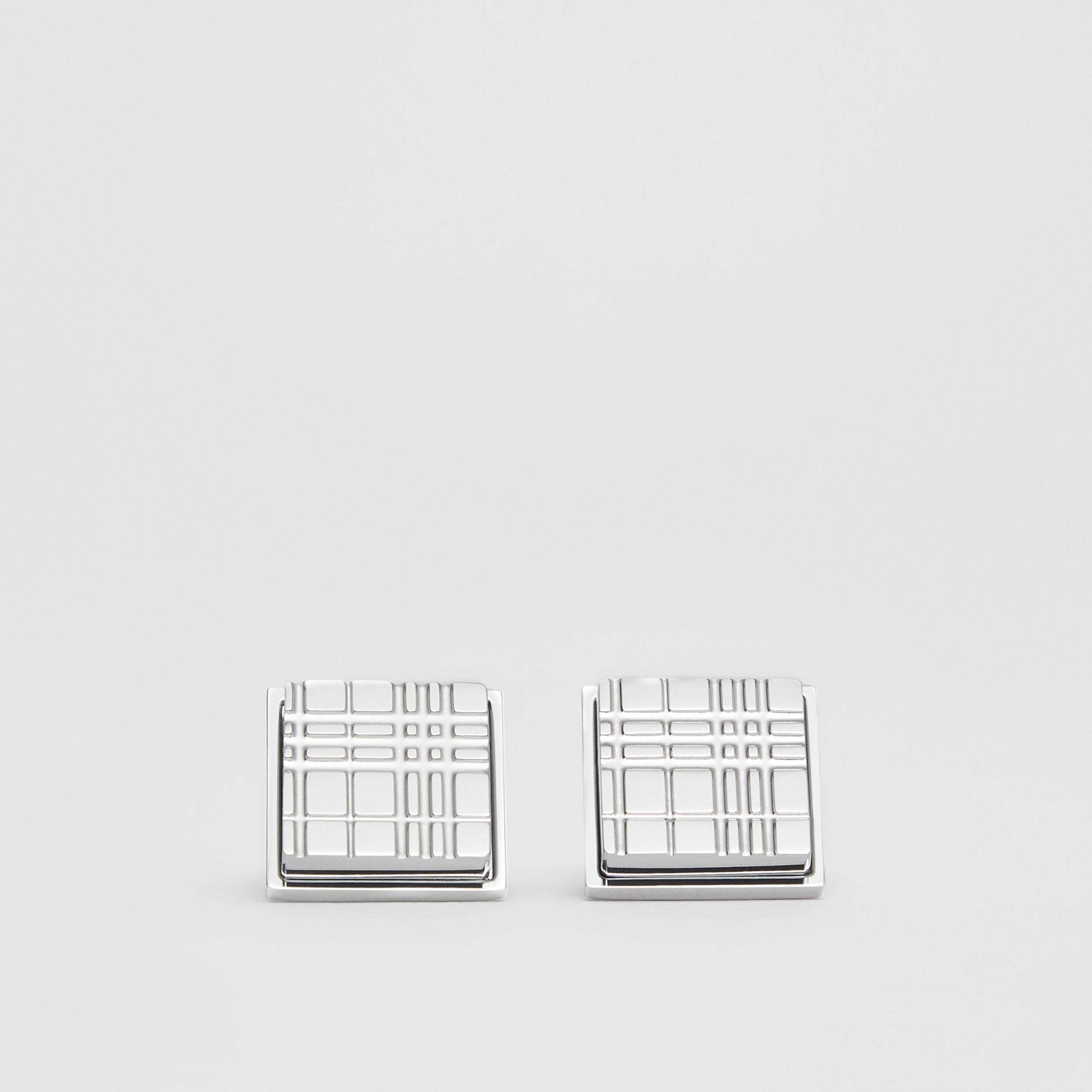 Palladium-plated Check-engraved Square Cufflinks in Silver - Men | Burberry - 1
