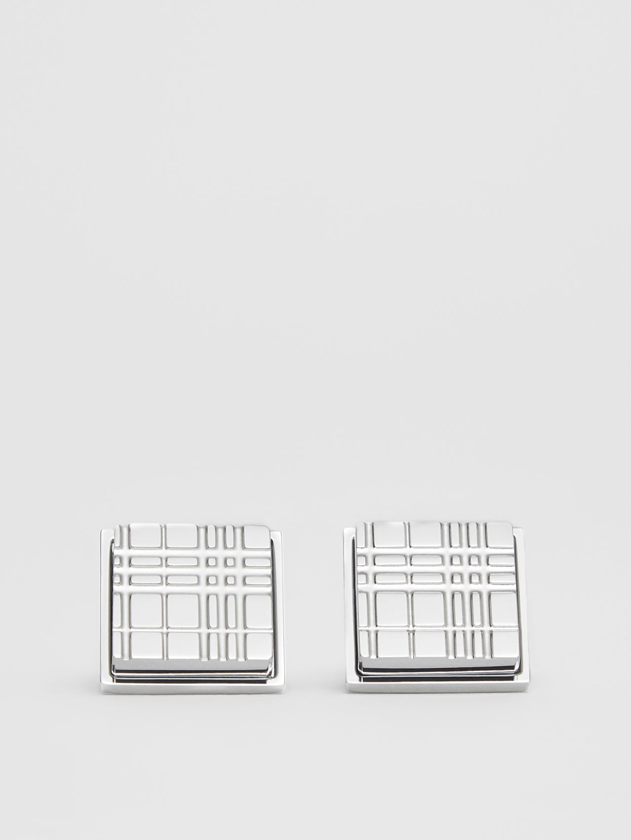 Palladium-plated Check-engraved Square Cufflinks in Silver