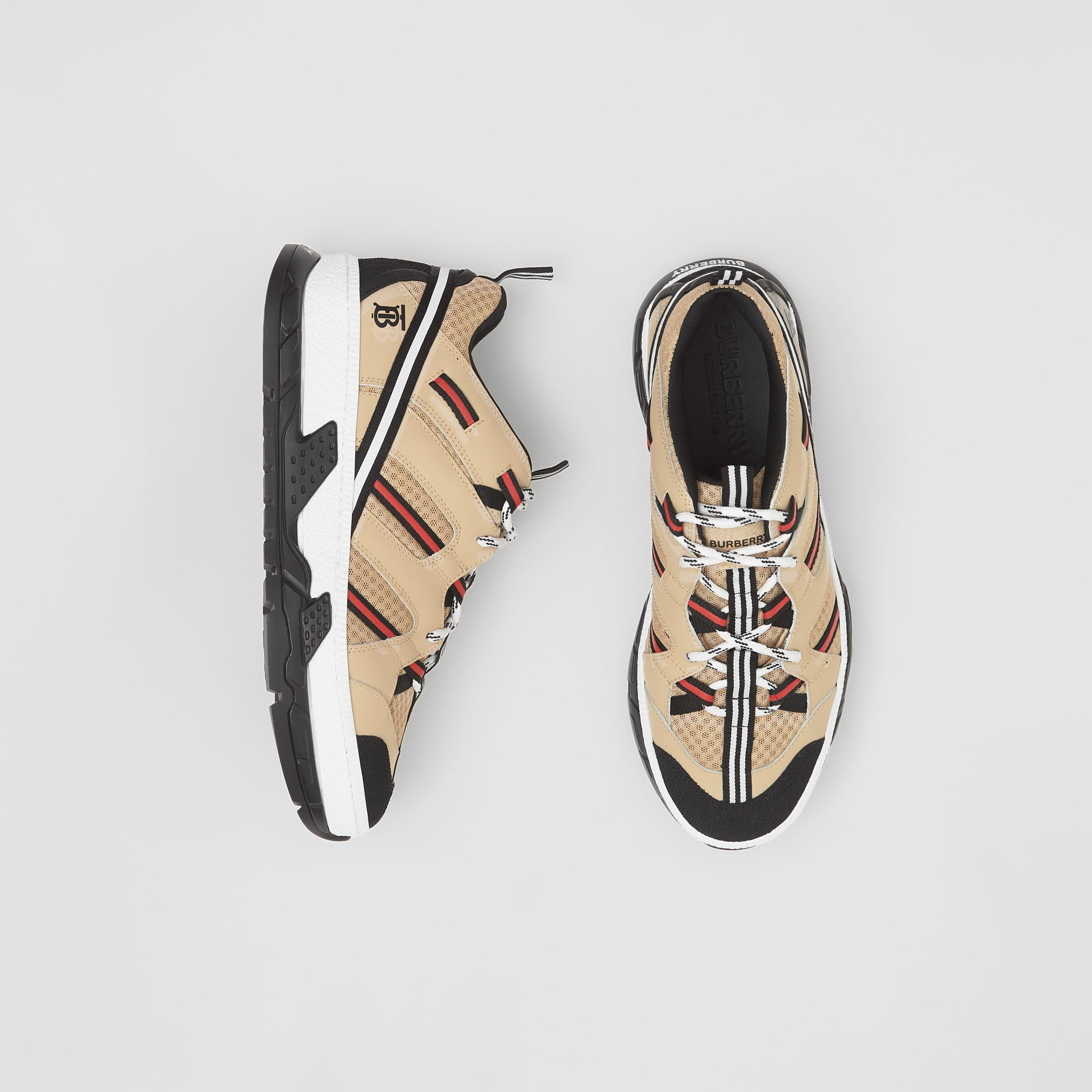 Mesh and Leather Union Sneakers in Beige - Men | Burberry - gallery image 0