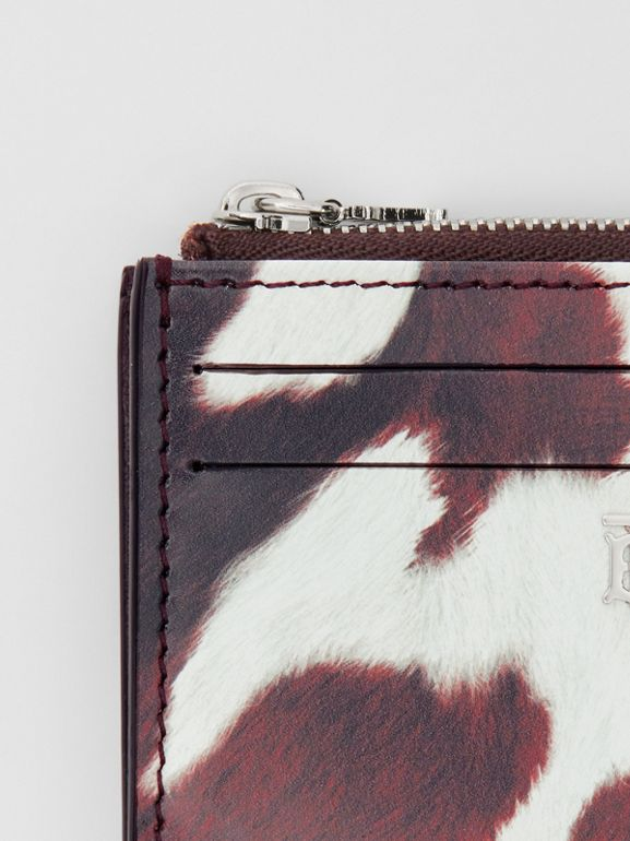 Cow Print Leather Zip Card Case in Mahogany - Women | Burberry - cell image 1