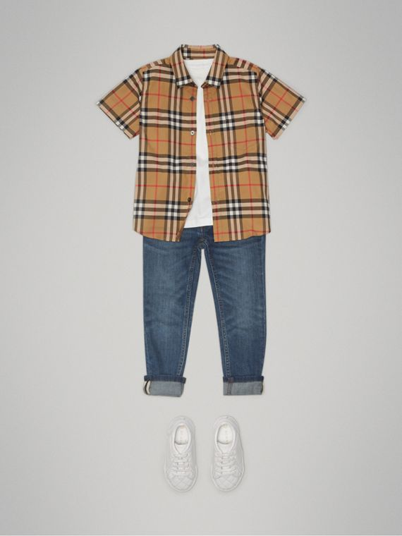 Short-sleeve Vintage Check Cotton Shirt in Antique Yellow - Boy | Burberry Australia - cell image 2