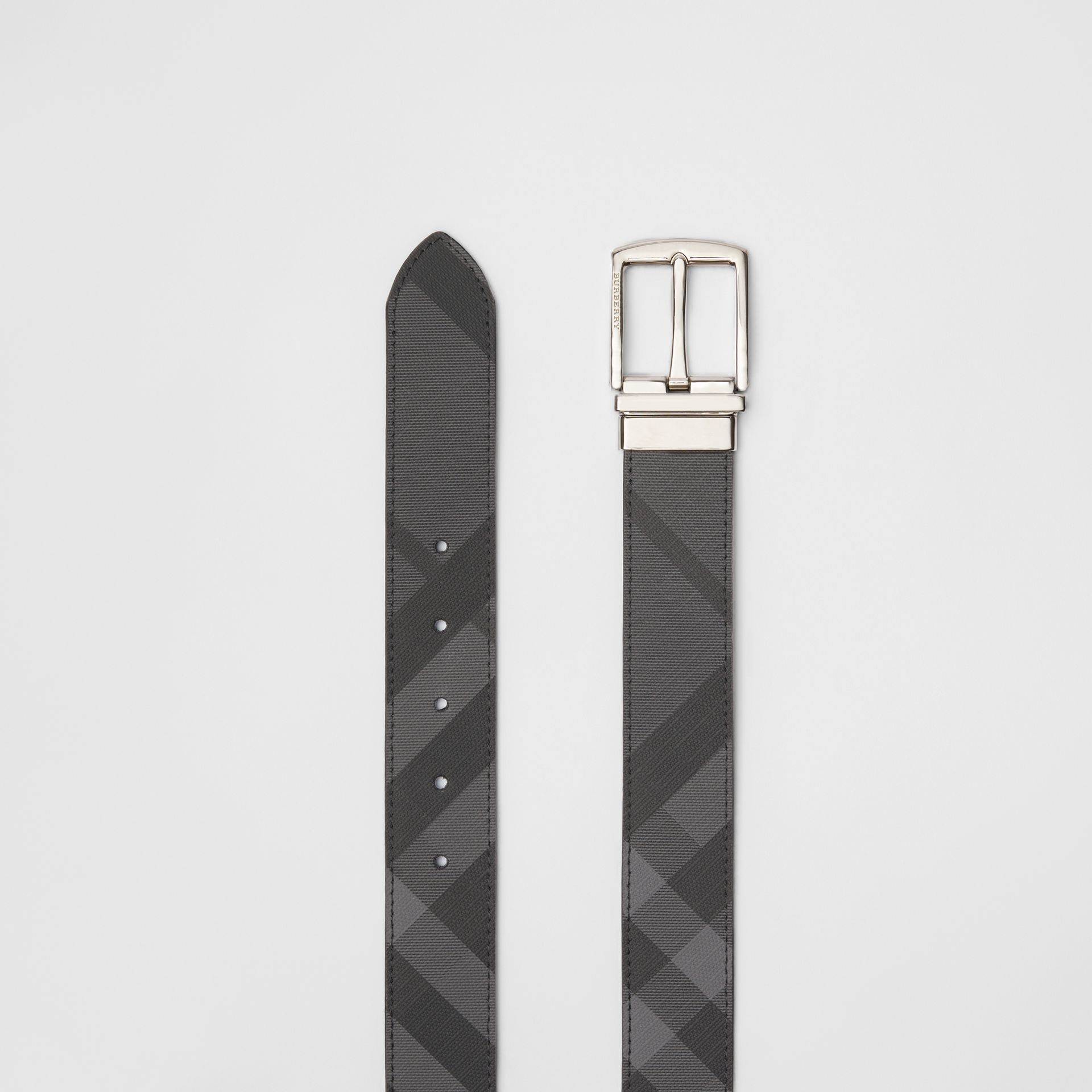 Reversible London Check and Leather Belt in Charcoal/black - Men | Burberry Hong Kong - gallery image 5