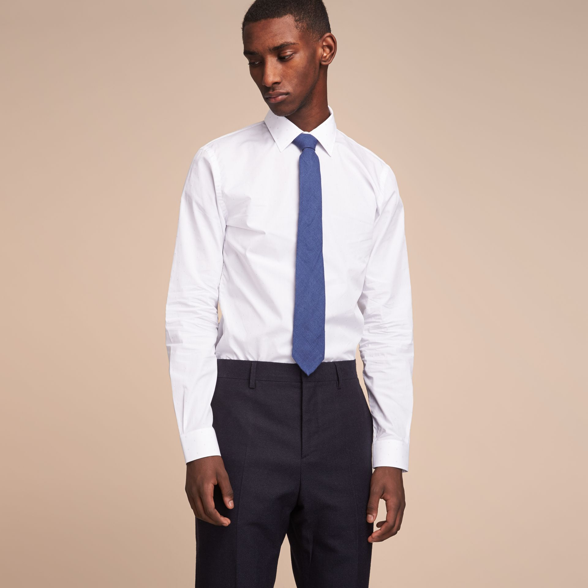 Modern Cut Linen Tie in Steel Blue - Men | Burberry Canada - gallery image 3