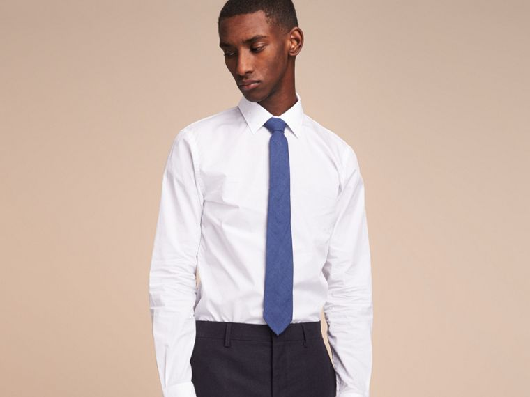 Modern Cut Linen Tie in Steel Blue - Men | Burberry - cell image 2