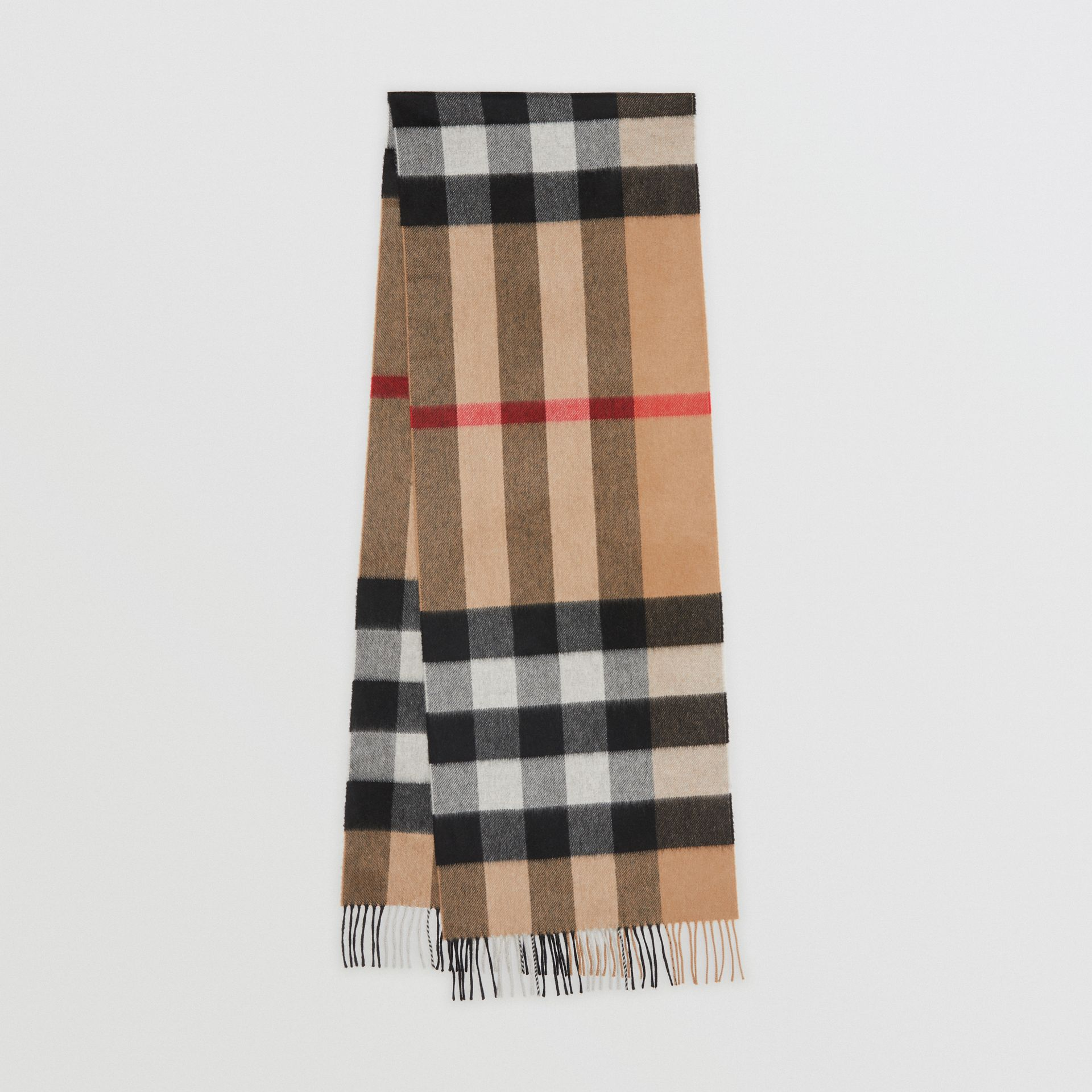 The Large Classic Cashmere Scarf in Check in Camel | Burberry Australia - gallery image 0