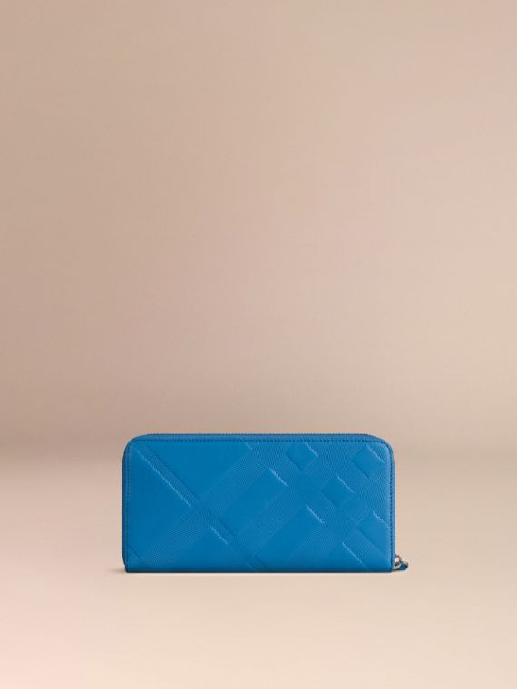 Blue azure Check-embossed Leather Ziparound Wallet Blue Azure - cell image 3