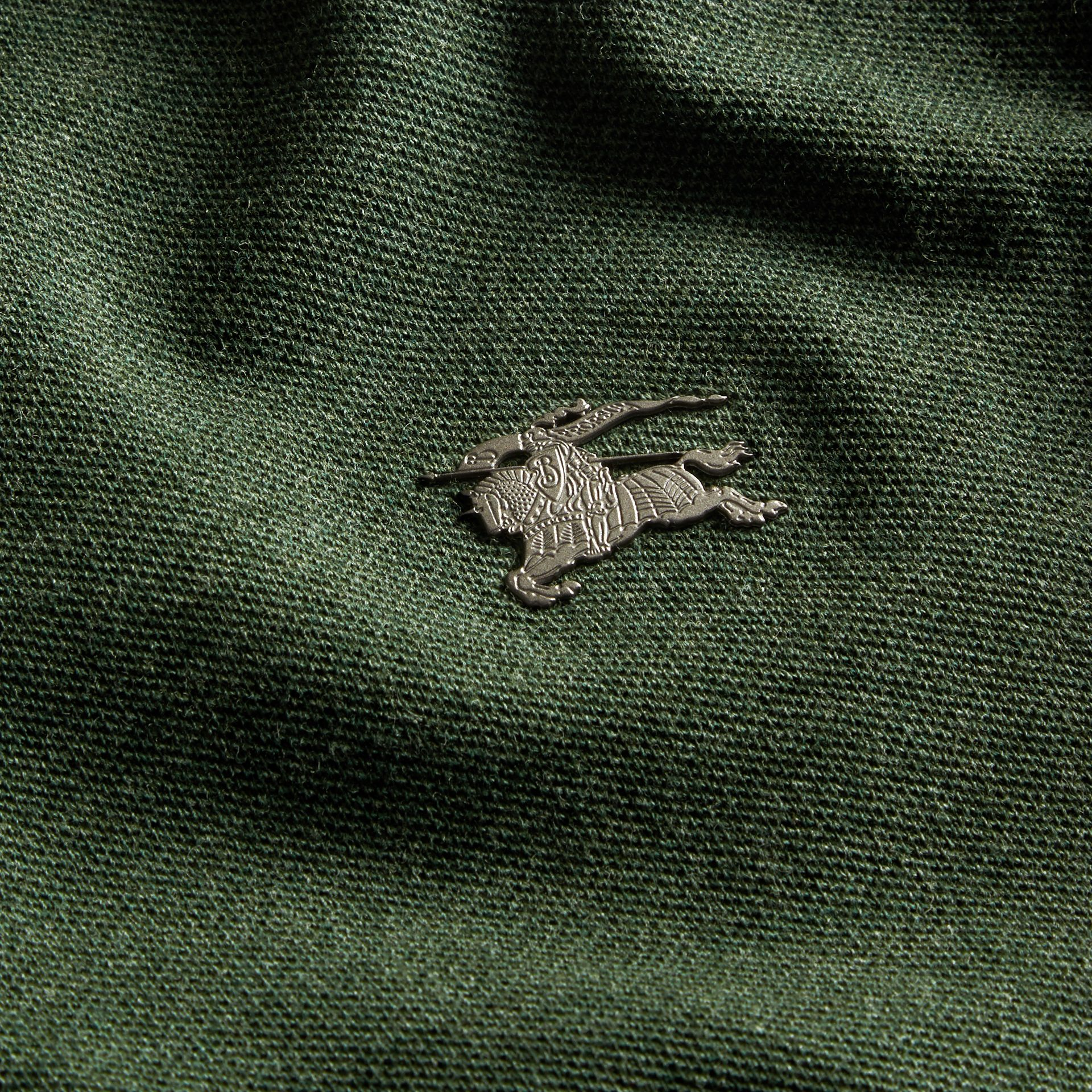 Racing green melange Contrast Colour Detail Cotton Piqué Polo Shirt Racing Green Melange - gallery image 2