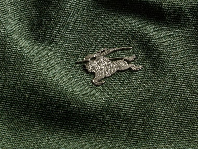 Racing green melange Contrast Colour Detail Cotton Piqué Polo Shirt Racing Green Melange - cell image 1