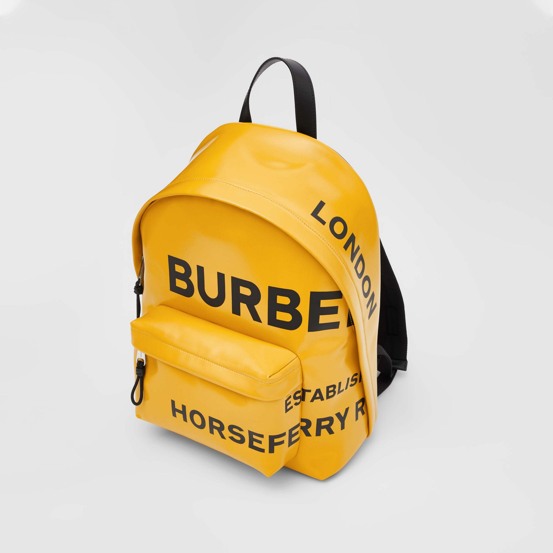Horseferry Print Coated Canvas Backpack in Yellow | Burberry - gallery image 3