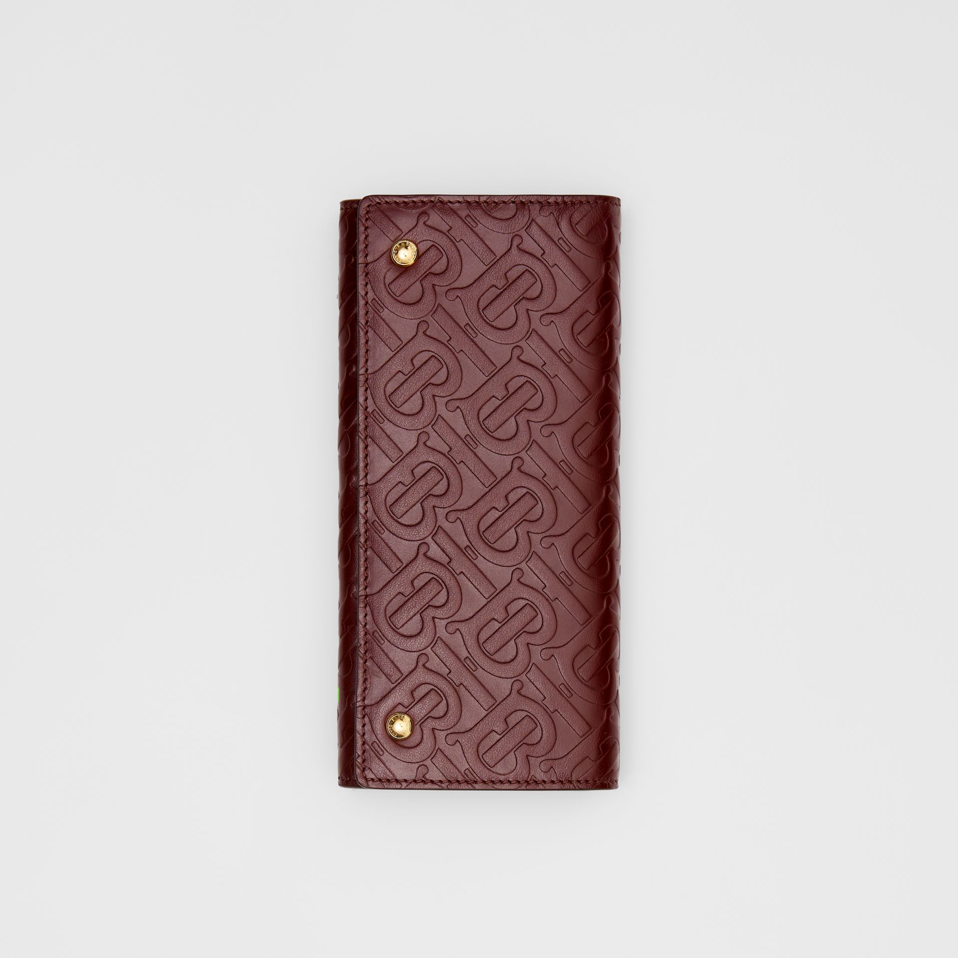 Monogram Leather Continental Wallet in Oxblood - Women | Burberry Canada - gallery image 3
