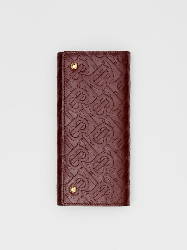 Monogram Leather Continental Wallet in Oxblood - Women | Burberry United Kingdom - cell image 3