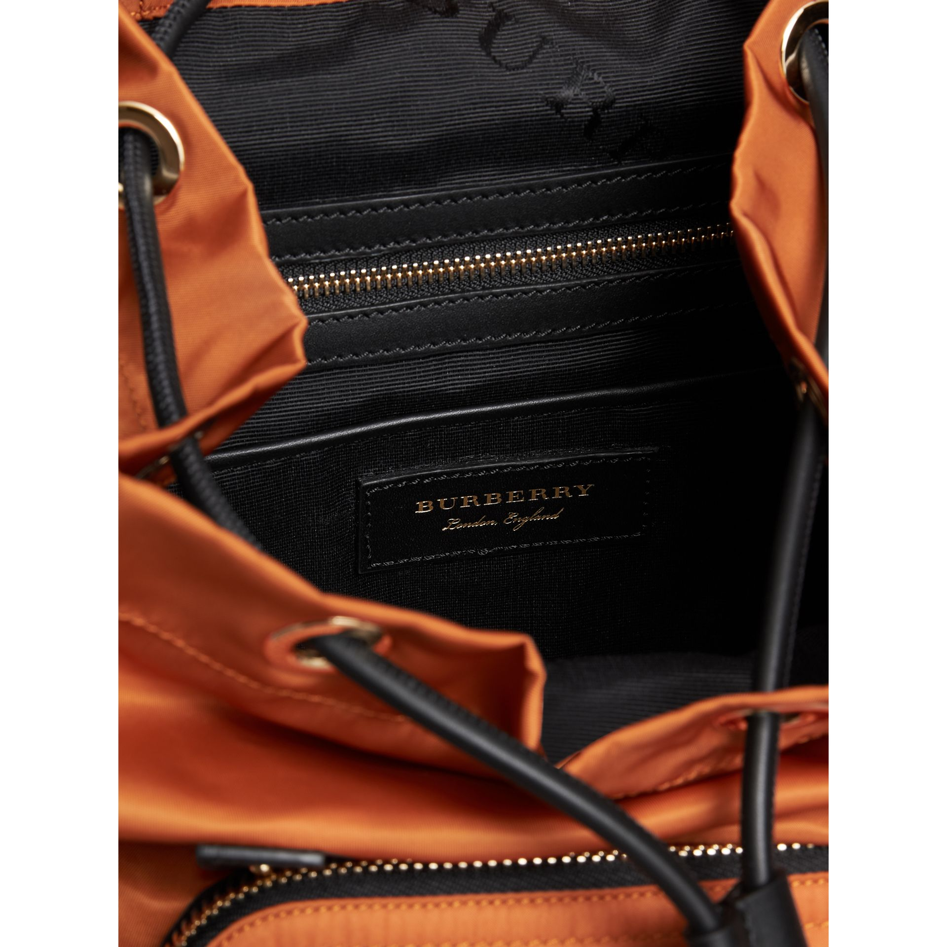 The Medium Rucksack in Technical Nylon and Leather in Clementine - Women | Burberry United States - gallery image 5