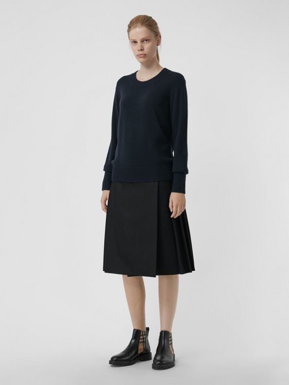 Archive Logo Appliqué Cashmere Sweater in Navy