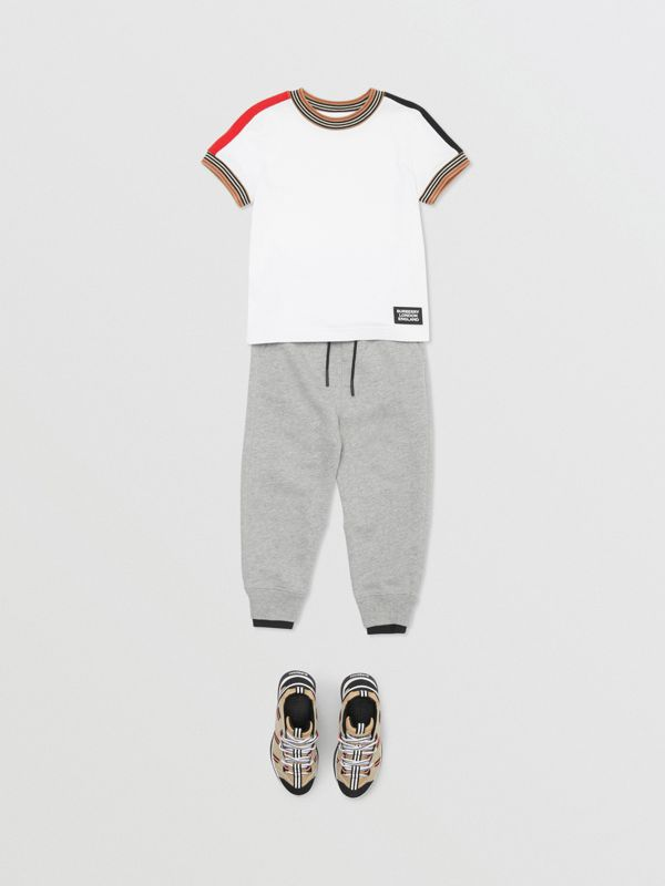 Logo Detail Cotton Trackpants in Grey Melange | Burberry - cell image 3