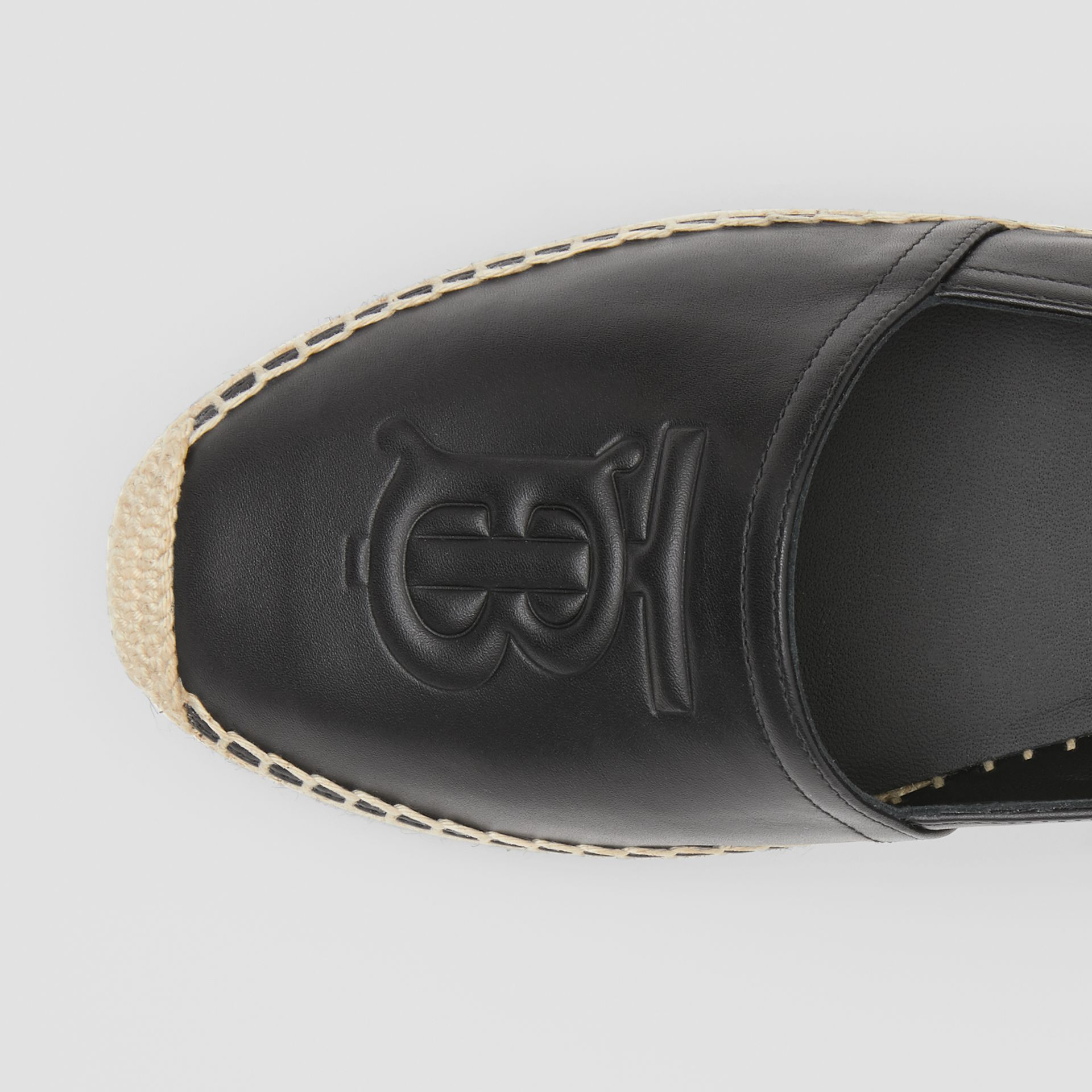Monogram Motif Leather Espadrilles in Black - Women | Burberry - gallery image 1