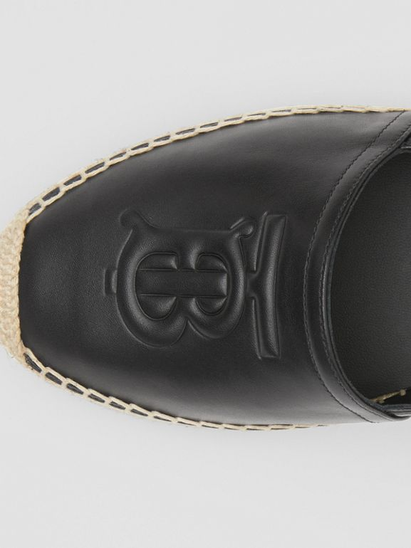 Monogram Motif Leather Espadrilles in Black - Women | Burberry United Kingdom - cell image 1