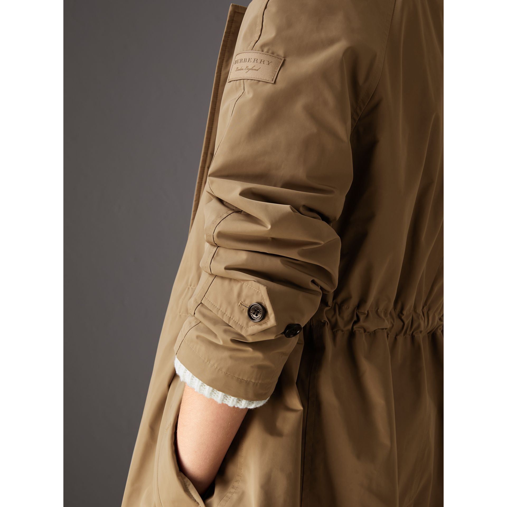 Detachable Hood Showerproof Car Coat in Sisal - Women | Burberry Singapore - gallery image 1