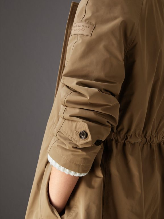 Detachable Hood Showerproof Car Coat in Sisal - Women | Burberry United Kingdom - cell image 1