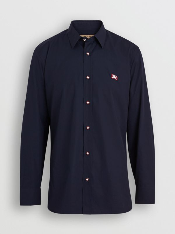 Contrast Button Stretch Cotton Shirt in Navy - Men | Burberry - cell image 3