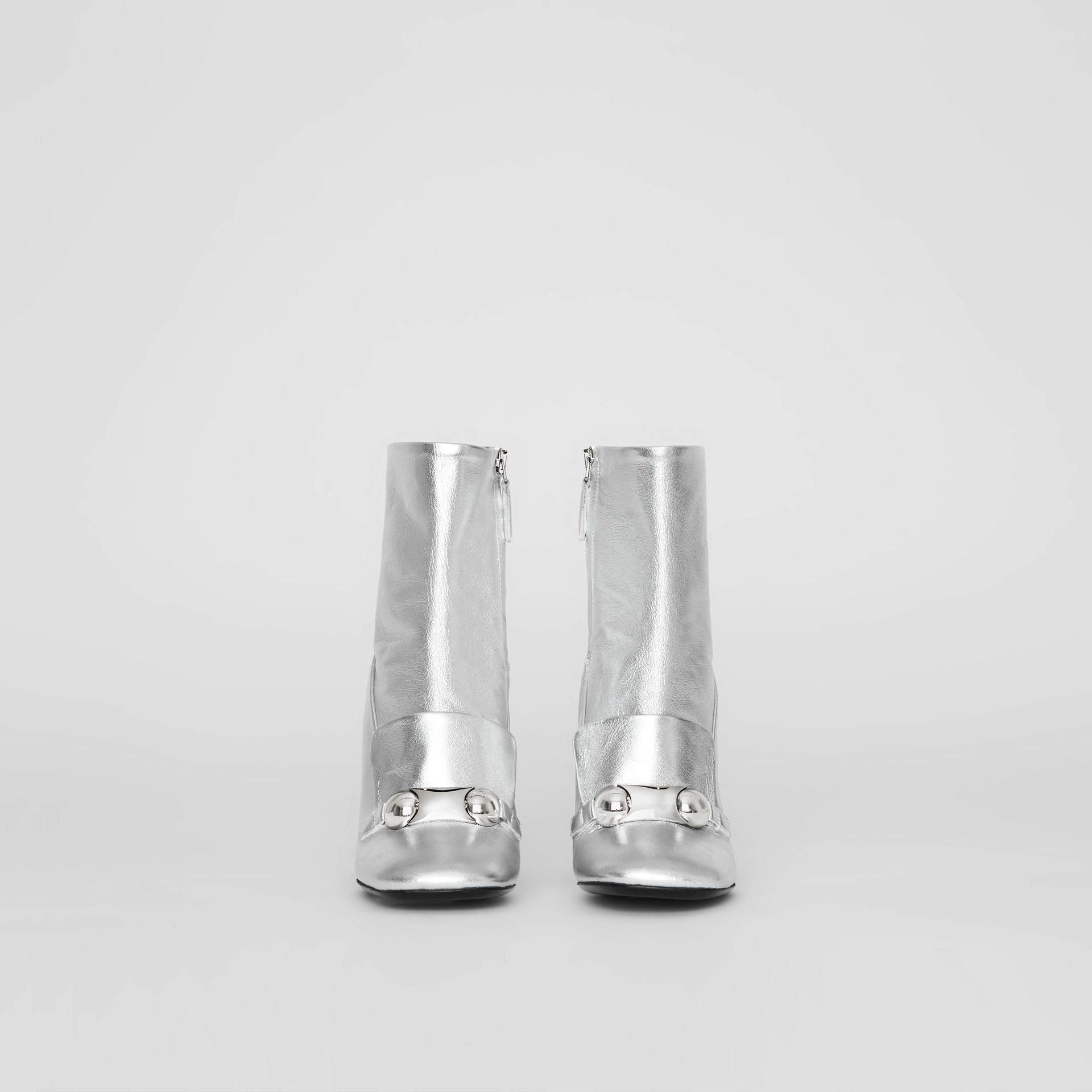 Studded Bar Detail Leather Ankle Boots in Silver - Women | Burberry United Kingdom - gallery image 3