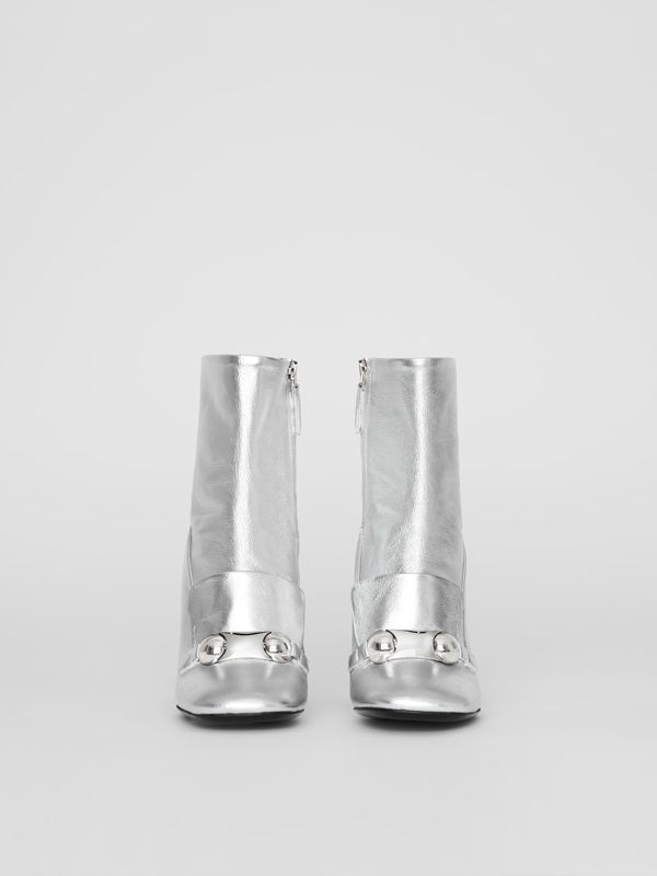 Studded Bar Detail Leather Ankle Boots in Silver - Women | Burberry United Kingdom - cell image 3