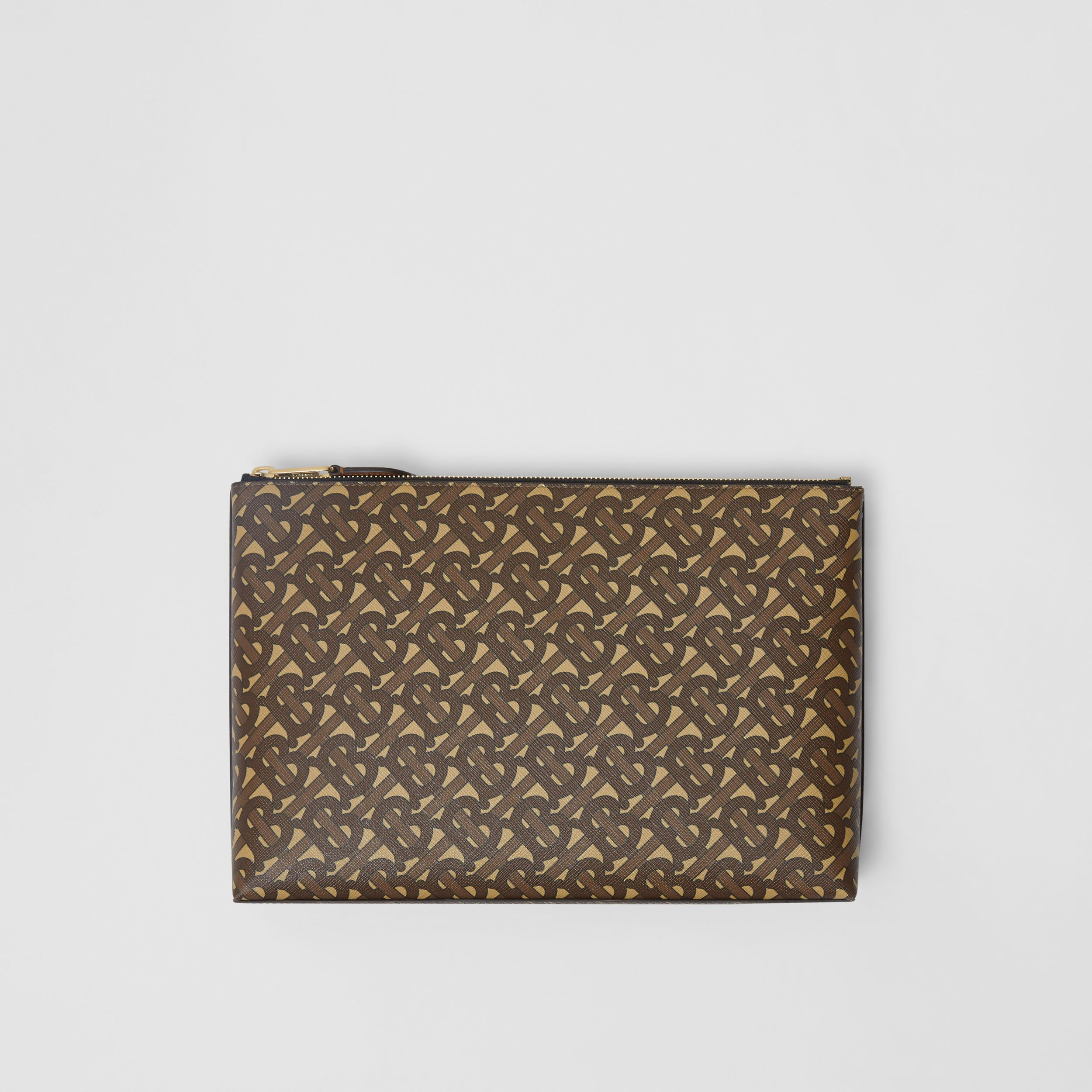 Monogram Print E-canvas Zip Pouch in Bridle Brown | Burberry - 1
