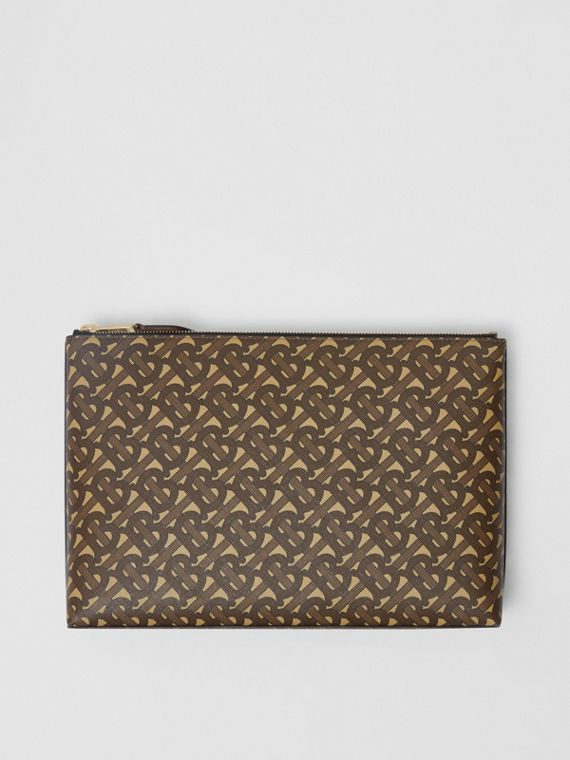 Monogram Print E-canvas Zip Pouch in Bridle Brown