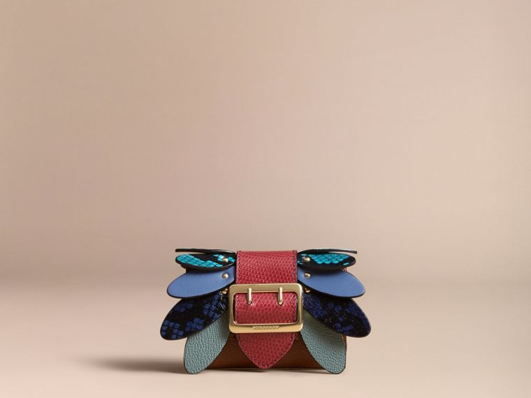 Snakeskin and Leather Appliqué Card Case in Bright Toffee - Women | Burberry Singapore - cell image 4
