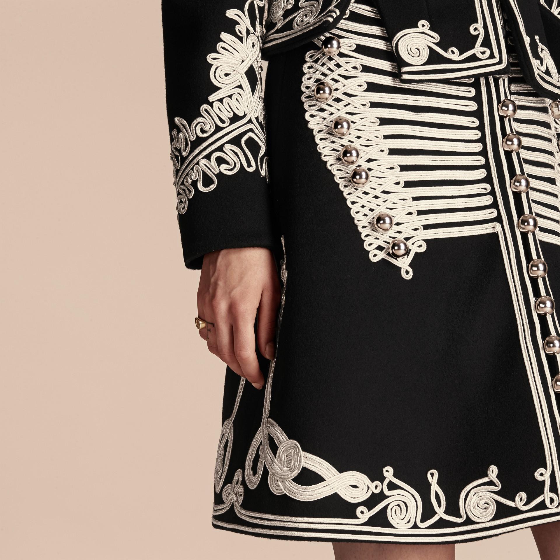 Black Braided Wool Military Coat - gallery image 6