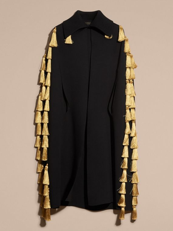 Black Wool Blend Military Cape with Tassels - cell image 3